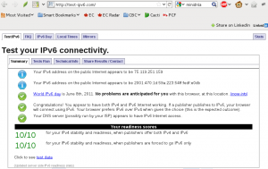 IPv6 Test Results screenshot