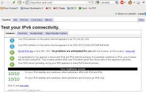 IPv6 Test Results screenshot